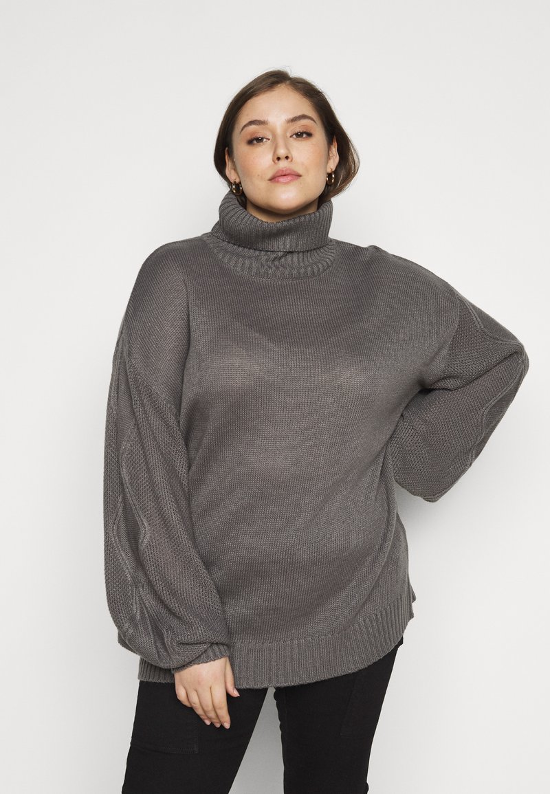 Missguided Plus - ROLL NECK CABLE SLEEVE JUMPER - Jumper - charcoal