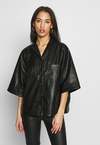 Monki - DALE BLOUSE - Button-down blouse - black - 0
