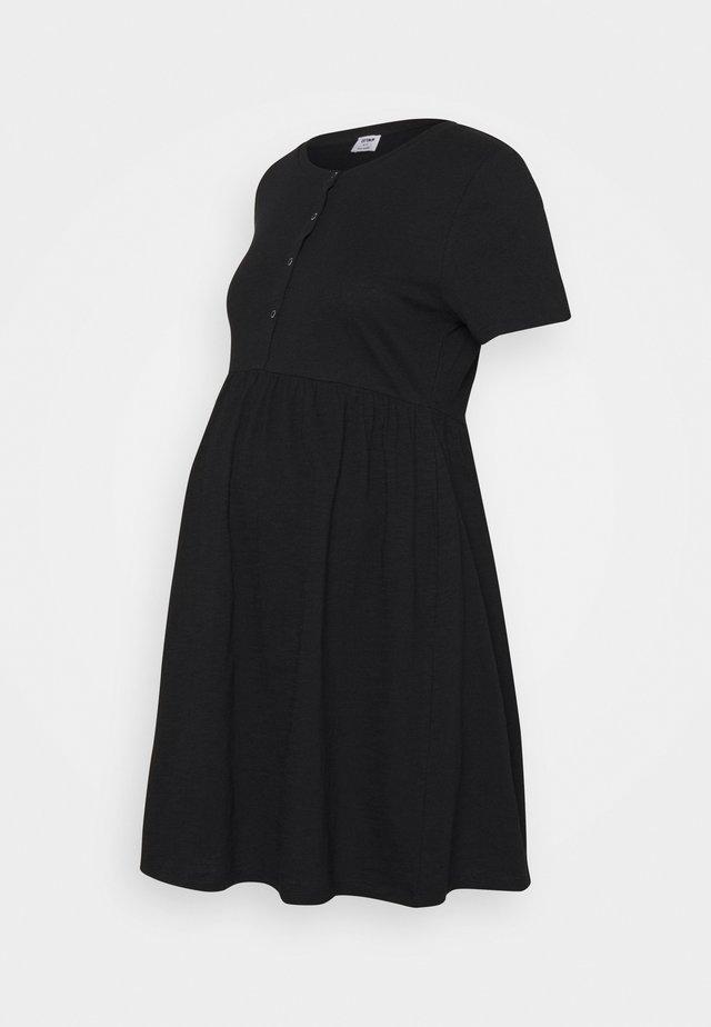 MATERNITY SHORT SLEEVE BABYDOLL MINI DRESS - Jerseykjoler - black