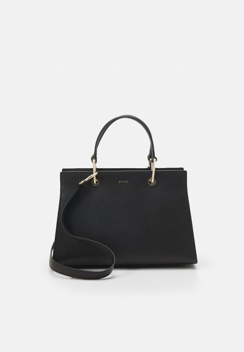 DKNY - VIVIAN DOUBLE FLAP SHOULDER - Handbag - black/gold-coloured