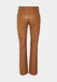 Lauren Ralph Lauren - STRETCH PANT - Leather trousers - brown - 1