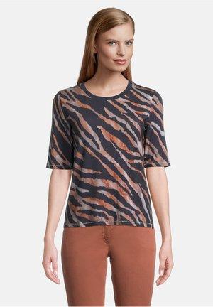 T-shirt print - dunkelblau/grau