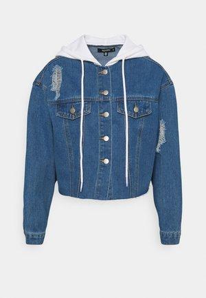 HOODED RAW JACKET - Veste en jean - blue