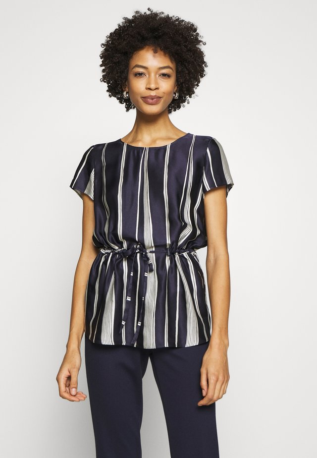 SHORT SLEEVE DRAWSTRING DETAIL - Blouse - dark blue/white