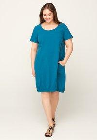 Zizzi - JHELLE - Shirt dress - petrol - 1