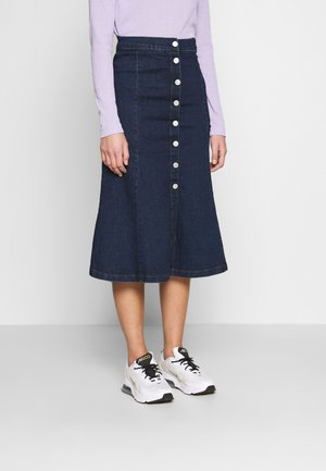BUTTON THROUGH SKIRT - A-line skjørt - blue denim