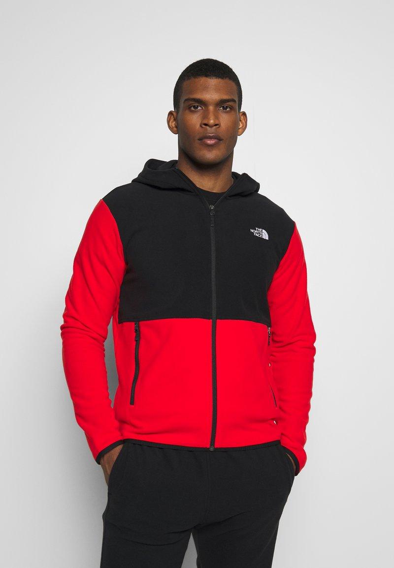 The North Face - MENS GLACIER FULL ZIP HOODIE - Fleecová bunda - fiery red/black