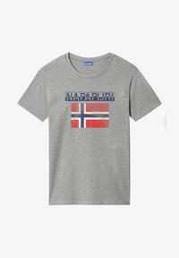 Napapijri - S-SURF FLAG - Print T-shirt - medium grey melange - 4