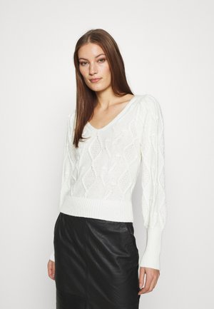 SHRUNKEN BOBBLE V NECK - Sweter - cream