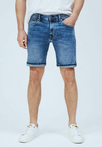 CANE - Denim shorts - blue