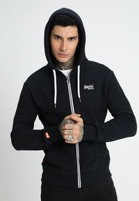 Superdry - LABEL ZIPHOOD - Mikina na zip - eclipse navy - 0