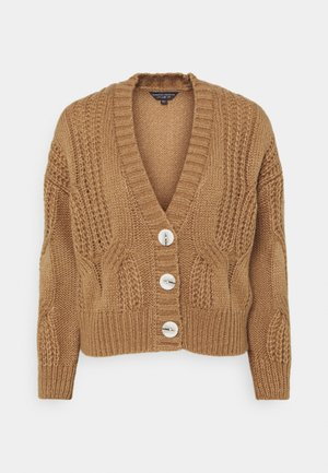 CABEL V NECK BUTTON FRONT CARDIGAN - Cardigan - camel
