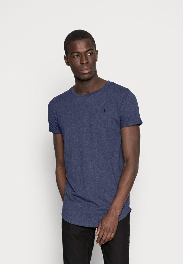 LONG BASIC WITH LOGO - T-shirt basic - agate stone blue melange