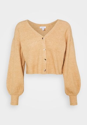 SUPER CROP BALLOON CARDI - Kardigan - camel