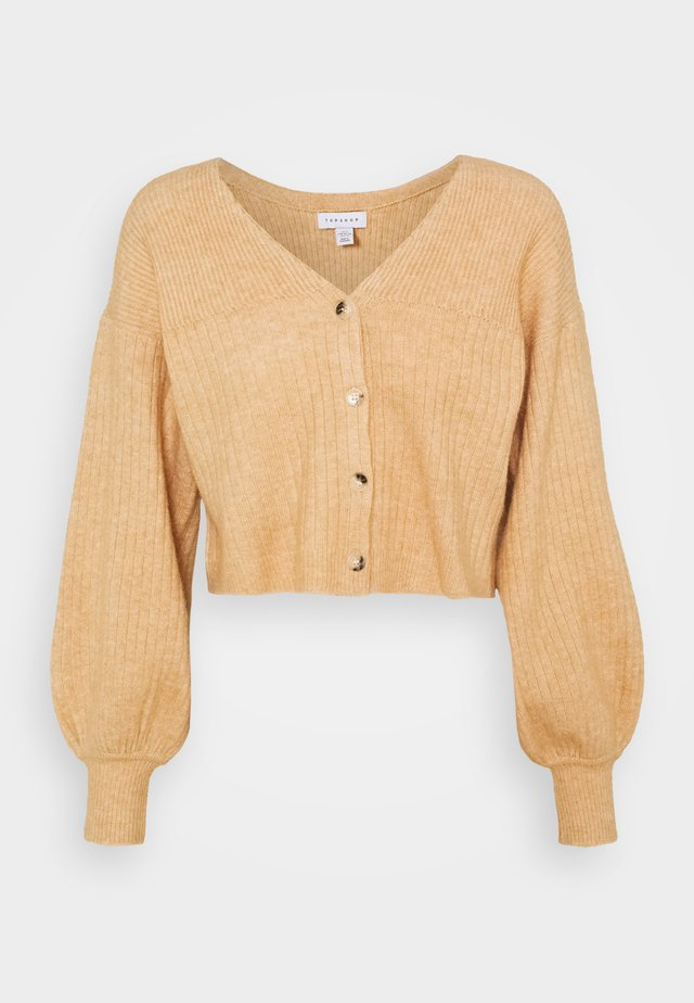 SUPER CROP BALLOON CARDI - Cardigan - camel