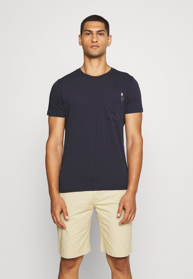 WITH CHEST POCKET AND EMBROIDERY - T-shirts med print - navy