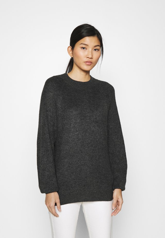 WAFFLE STITCH MOCK AIRY - Jumper - charcoal heather