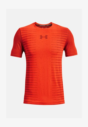 UA SEAMLESS WORDMARK SS - T-shirt con stampa - red