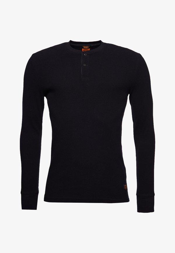 Superdry MICRO TEXTURE - Bluzka z długim rękawem - black/czarny Odzież Męska FWFS