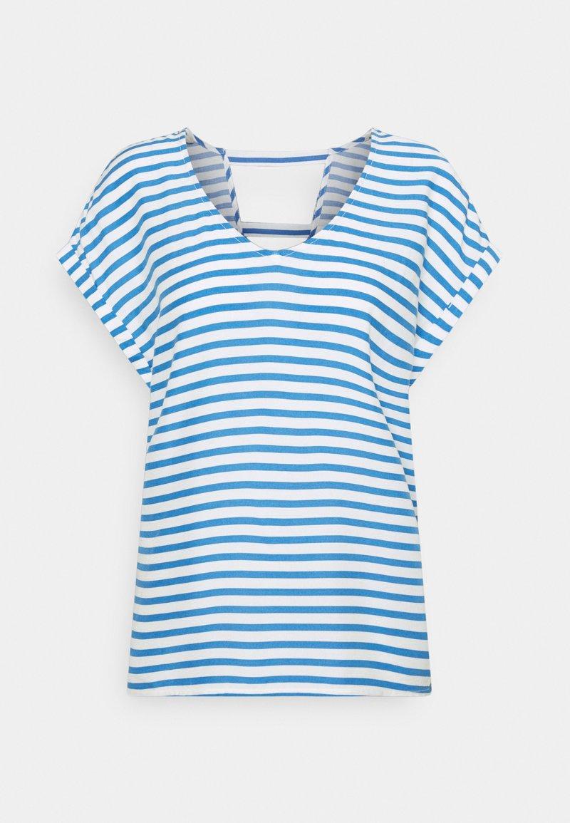 TOM TAILOR DENIM - V NECK  - Print T-shirt - mid blue/white
