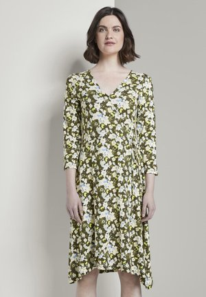 Jersey dress - small khaki floral design