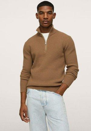 MIT REISSVERSCHLUSS-KRAGEN - Pullover - medium brown