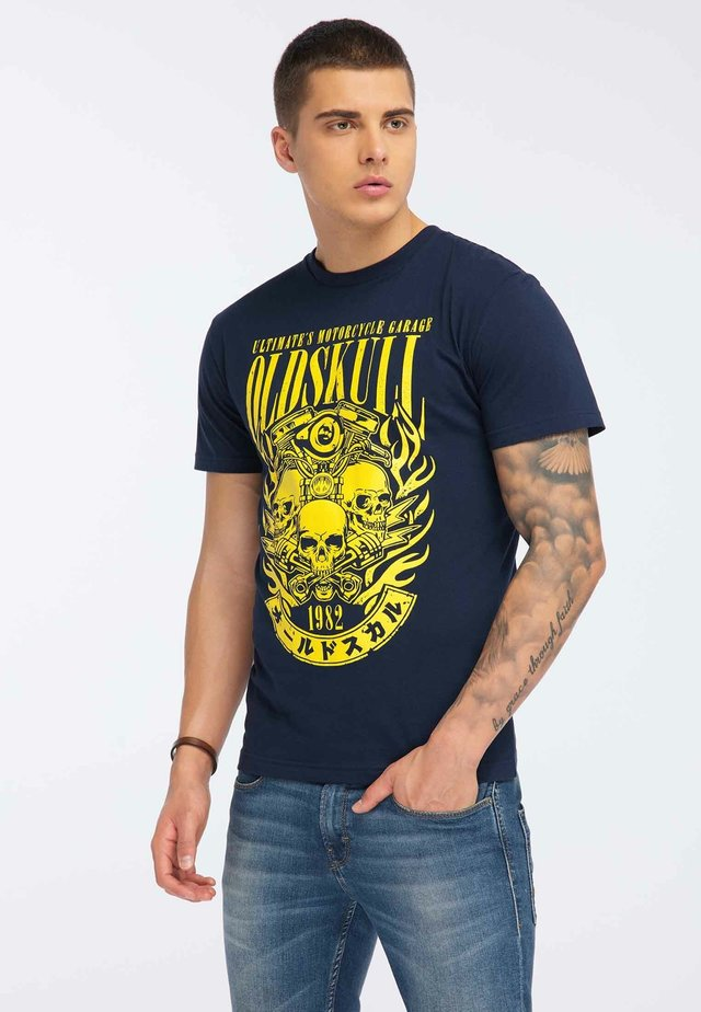 OLDSKULL T-SHIRT PRINT - Camiseta estampada - navy blue