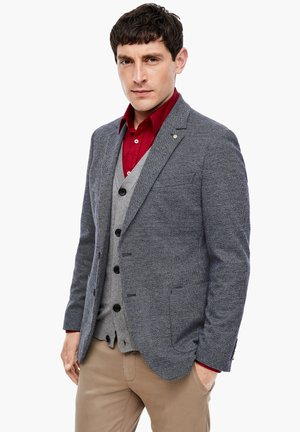 SLIM FIT - Blazer jacket - dark blue knit