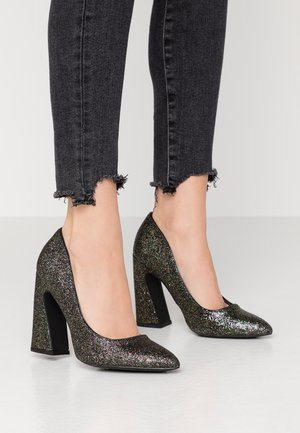 Højhælede pumps - black/multicoloured