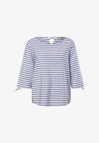 Blouse - powder blue woven stripes