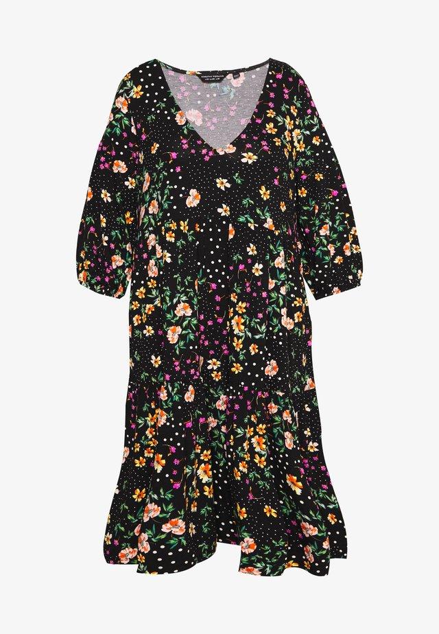 V NECK SMOCK FLORAL DRESS - Vestito di maglina - multi coloured