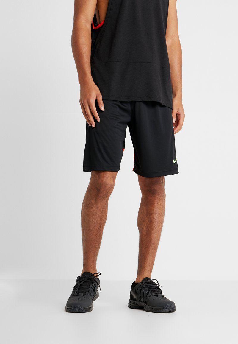 Nike Performance - DRY SHORT HYBRID - Pantalón corto de deporte - black/habanero red/electric green
