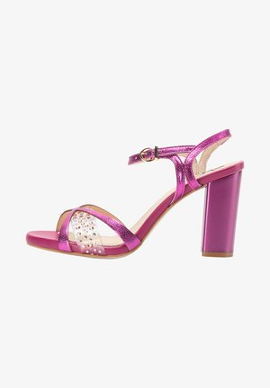 High heeled sandals - pink metallic