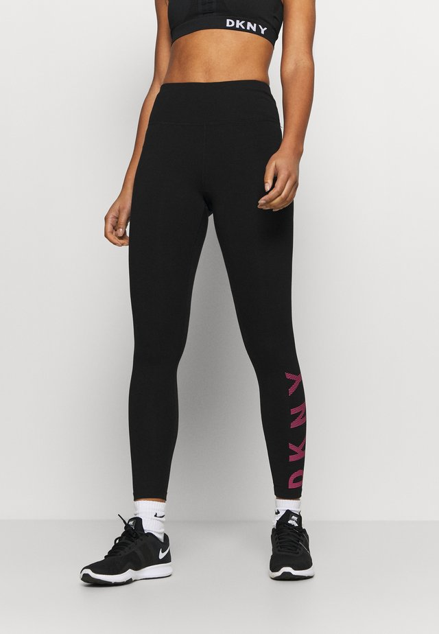 HIGH WAIST FULL LENGTHSTRIPED LOGO - Tights - lazer pink