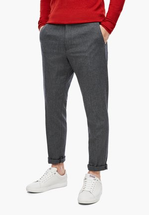 MIT HERRINGBONE-STRUKTUR - Suit trousers - grey dobby