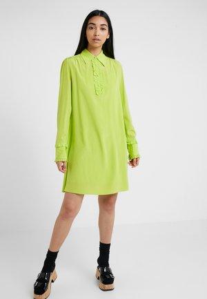 RUFFLE TRIM DRESS - Shirt dress - acid lime