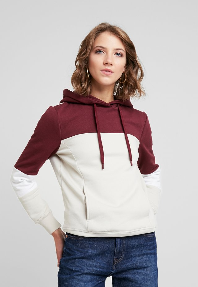 ONLROSALINA HOOD - Jersey con capucha - moonbeam/tawny port/bright white