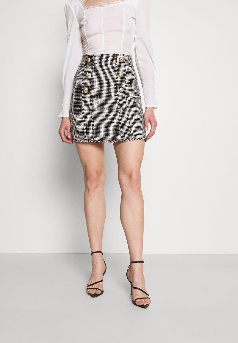 River Island - Mini skirt - black/white