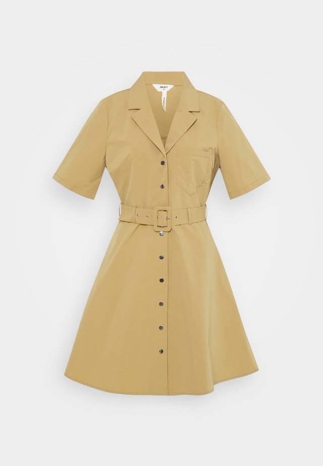 OBJFRIGG DRESS A FAIR - Shirt dress - sandshell