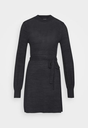 BELTED COZY DRESS - Robe pull - black