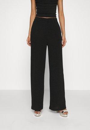 STRAIGHT SPARKLE PANTS - Spodnie materiałowe - black