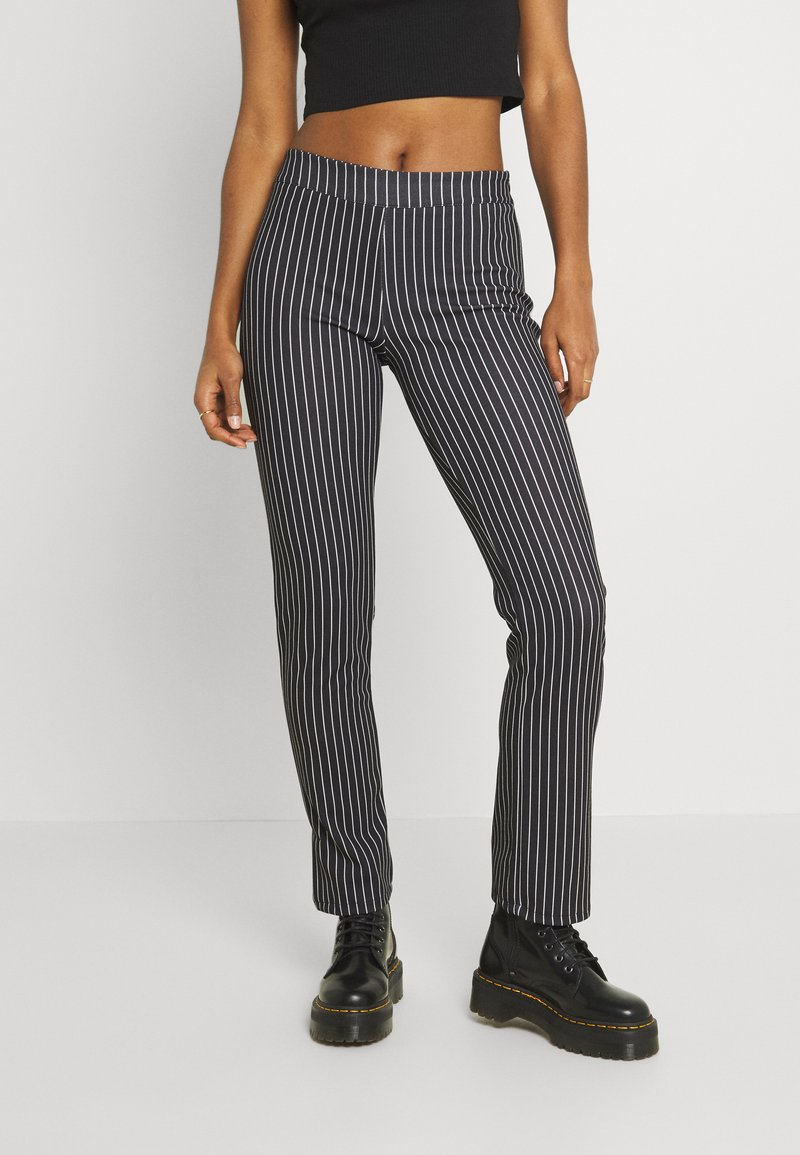 WAL G. - PIN STRIPE SKINNY TROUSERS - Trousers - black/white