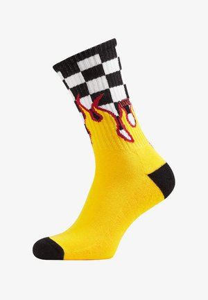 MN FLAME CHECK CREW (6.5-9, 1PK) - Strumpor - black-white check-flame