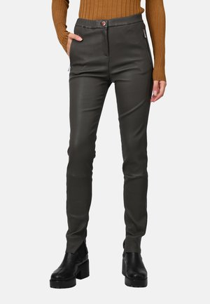 CELESTE - Leather trousers - khaki