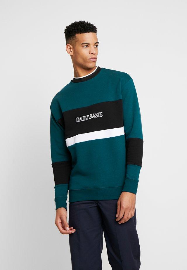DOULBE BLOCK CREW - Sweatshirt - teal