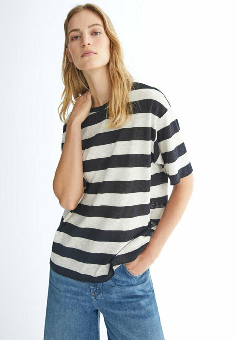Massimo Dutti - GESTREIFTES SHIRT AUS REINER - Print T-shirt - black