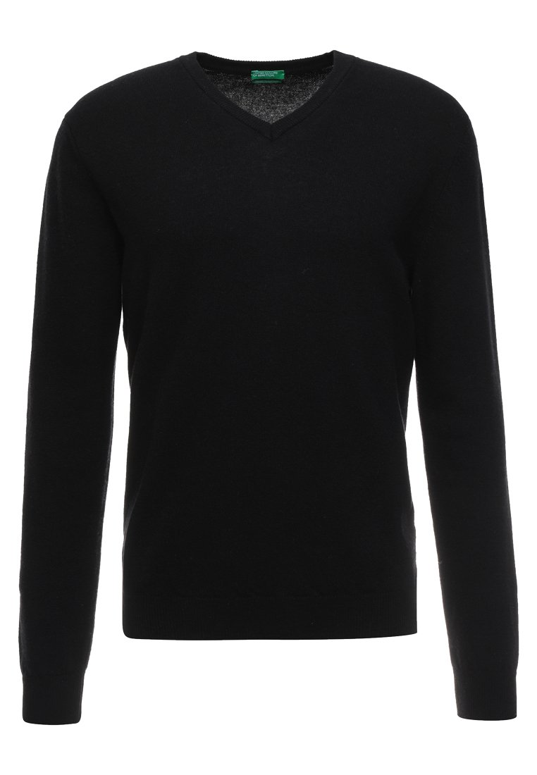 Benetton BASIC V NECK - Pullover - black