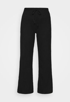 WIDE LEG BRUSHED TROUSER - Trousers - black