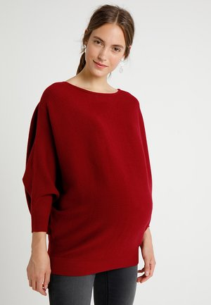WRAP BACK BATWING JUMPER - Svetr - wine