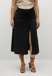 Violeta by Mango - MET GESMOKT DETAIL - A-line skirt - zwart - 0